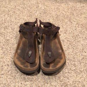 Birkenstock brown Kairo Gizeh ankle strap sandal 7
